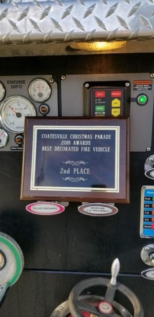 2nd place plaque for Best Decorated Fire Vehicle