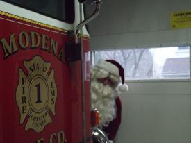 Santa sneaking into the station, make sure everyone behaving
